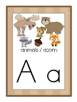 Alphabet Posters Set - Camping / Forest / Woodland Themed (Tan)