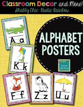 Alphabet Posters- Shabby Chic Rustic Rainbow Burlap