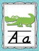 Alphabet Posters- Shabby Chic Rustic Rainbow Burlap with D'Nealian Font