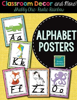 Alphabet Posters- Shabby Chic Rustic Rainbow Burlap with D