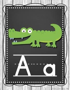 Alphabet Posters- Shabby Chic Rustic Shiplap Wood Chalkboard Theme
