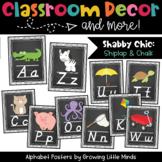 Alphabet Posters- Shabby Chic Rustic Shiplap Wood Chalkboa