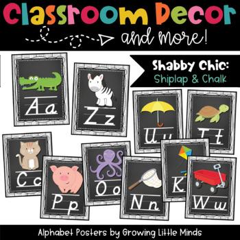 Alphabet Posters- Shabby Chic Rustic Shiplap Wood Chalkboard Theme D'Nealian