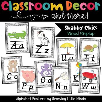 Alphabet Posters- Shabby Chic Rustic Shiplap Wood