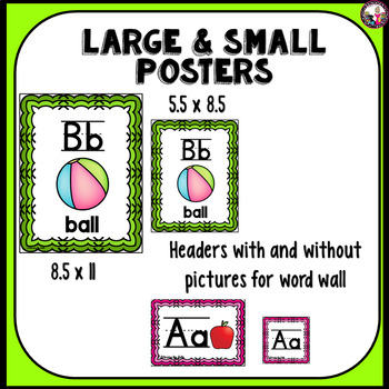 Alphabet Posters! Small Neon with Matching Headers for Word Wall & Vowels!