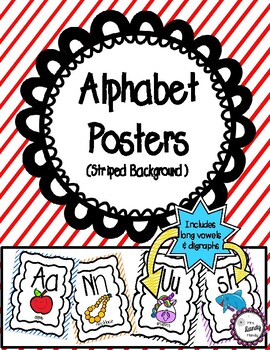 Alphabet Posters (Striped Background)