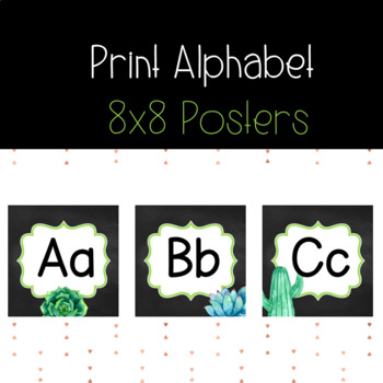 Alphabet Posters *Succulents and Cactus* Manuscript Font