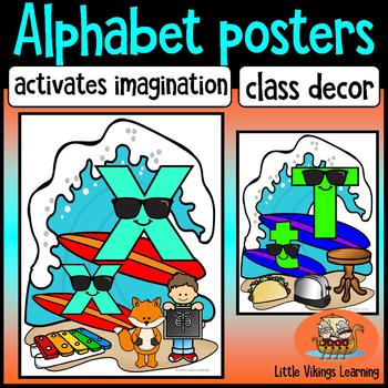 Alphabet Posters Surfing theme