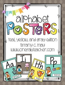 Alphabet Posters: Teal, Yellow, and Gray Melonheadz Style