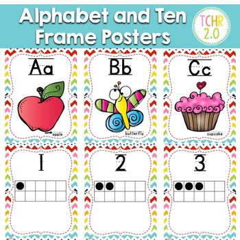 Alphabet Ten Frame Posters Rainbow Chevron