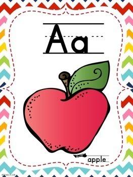 Alphabet Ten Frame Posters Rainbow Chevron