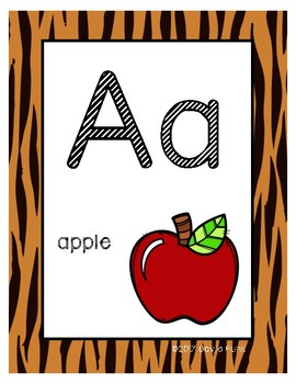 Alphabet Posters - Tiger Print Background - With Picture Clues