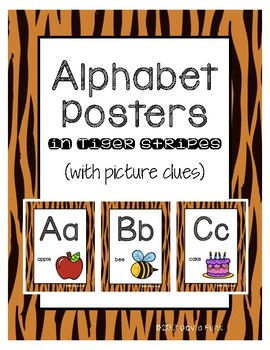 #roomdecor Classroom Decor Alphabet Posters - Tiger Print - With Picture Clues