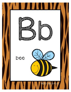 Classroom Decor Alphabet Posters - Tiger Print - With Picture Clues