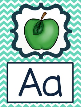 Alphabet Posters - Turquoise, Blue, and Green