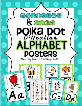 Alphabet Posters - Turquoise & Lime Polka Dot - D'Nealian Manuscript