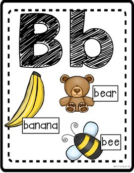 Alphabet Posters: Uppercase and Lowercase with Beginning Sound Pictures