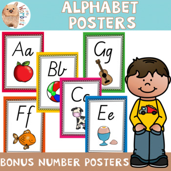 Alphabet Posters - Victorian Cursive Font, Plus Bonus Number Posters