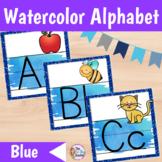 Alphabet Posters Watercolor   Blue