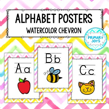 Alphabet Posters - Watercolor Chevron