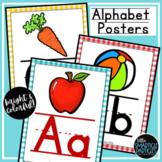 Alphabet Posters Watercolor Gingham Classroom Decor