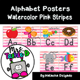Alphabet Posters (Watercolor Pink Strips)