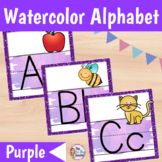 Alphabet Posters Watercolor   Purple