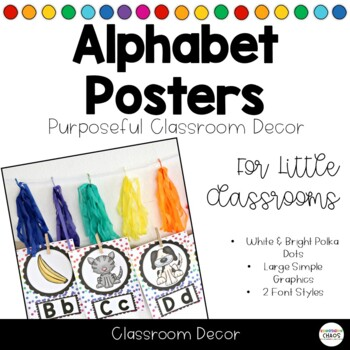 Alphabet Posters - White & Bright Polka Dots - 2 Font Styles
