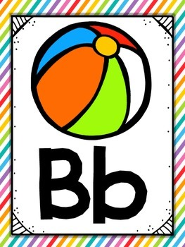 Alphabet Posters {White Rainbow} {Many Picture Options} {Full Page Posters}