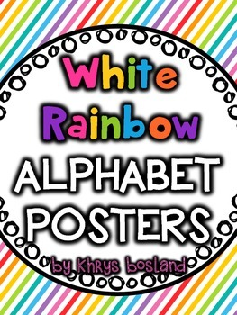 Alphabet Posters {White Rainbow} {Many Picture Options} {F