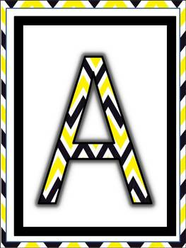 Alphabet Posters (White, Yellow and Black Chevron Design) Upper and Lower Case