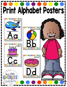 Alphabet Posters White and Bright Dots