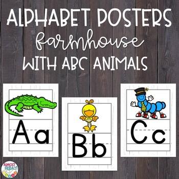 Alphabet Posters Whitewashed Wood with ABC Animals