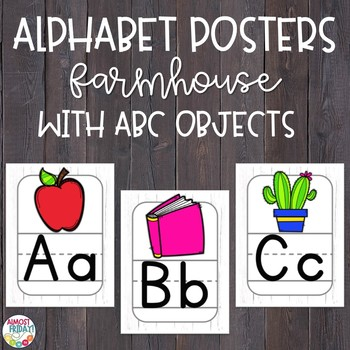 Alphabet Posters Whitewashed Wood with ABC Objects