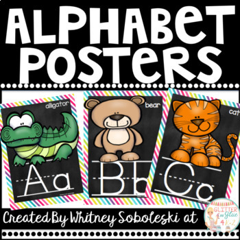Alphabet Posters with a Rainbow and Chalk Theme