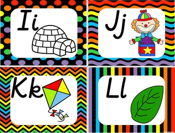 Alphabet Posters,Word Wall, & Flashcards DN Print:Rainbow Colors F&P Links