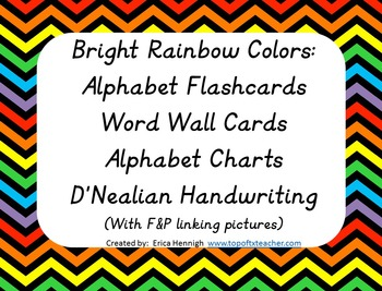 Alphabet Posters,Word Wall, & Flashcards DN Print:Rainbow