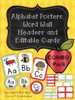 Alphabet Posters, Word Wall Headers and Editable Cards - COMBO