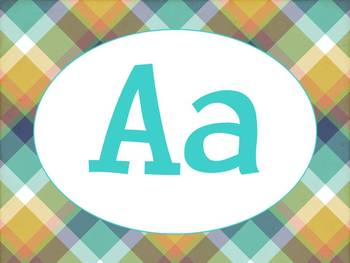 Alphabet Posters/Word Wall headers - Turquoise Camping