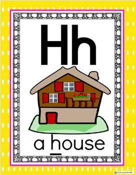Alphabet Posters-Yellow Polka Dot ENGLISH Version with Picture and Words