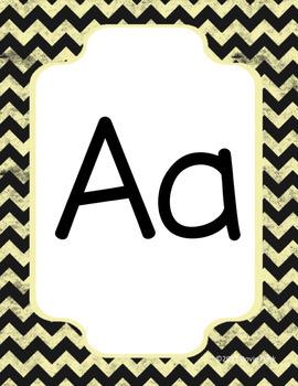 Classroom Decor Alphabet Posters - Chalkboard Chevron - Italics