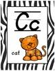 Classroom Decor Alphabet Posters - Zebra Print - Animals - Italics