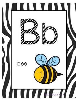 Classroom Decor Alphabet Posters - Zebra Print - With Picture Clues