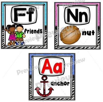 Alphabet Posters ~ Zebra/Crayon Theme (Eight Inch Square)