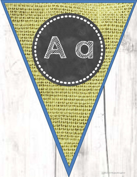Alphabet Posters and Bunting - Burlap Shiplap and Chalkboard Theme