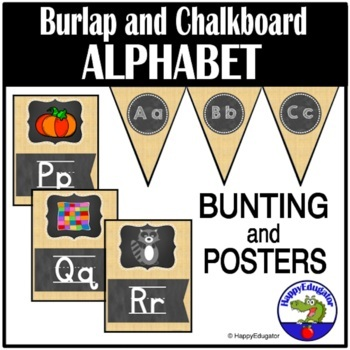 Alphabet Posters and Bunting - Burlap and Chalkboard Theme