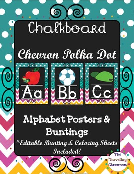 Alphabet Posters and Bunting {Chalkboard Chevron Polka Dot}