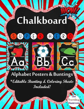 Alphabet Posters and Bunting {Chalkboard Superhero Decor}