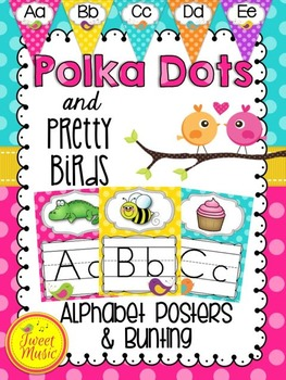 Alphabet Posters and Bunting {Polka Dot Brights & Pretty Birds}