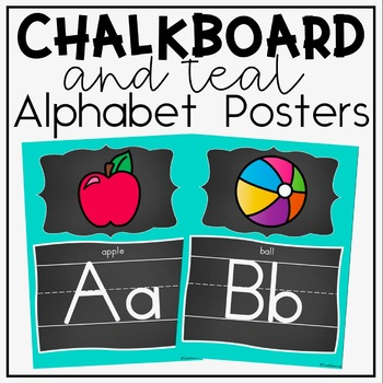 Alphabet Posters and Bunting {Teal and Chalkboard Classroom Decor Theme}